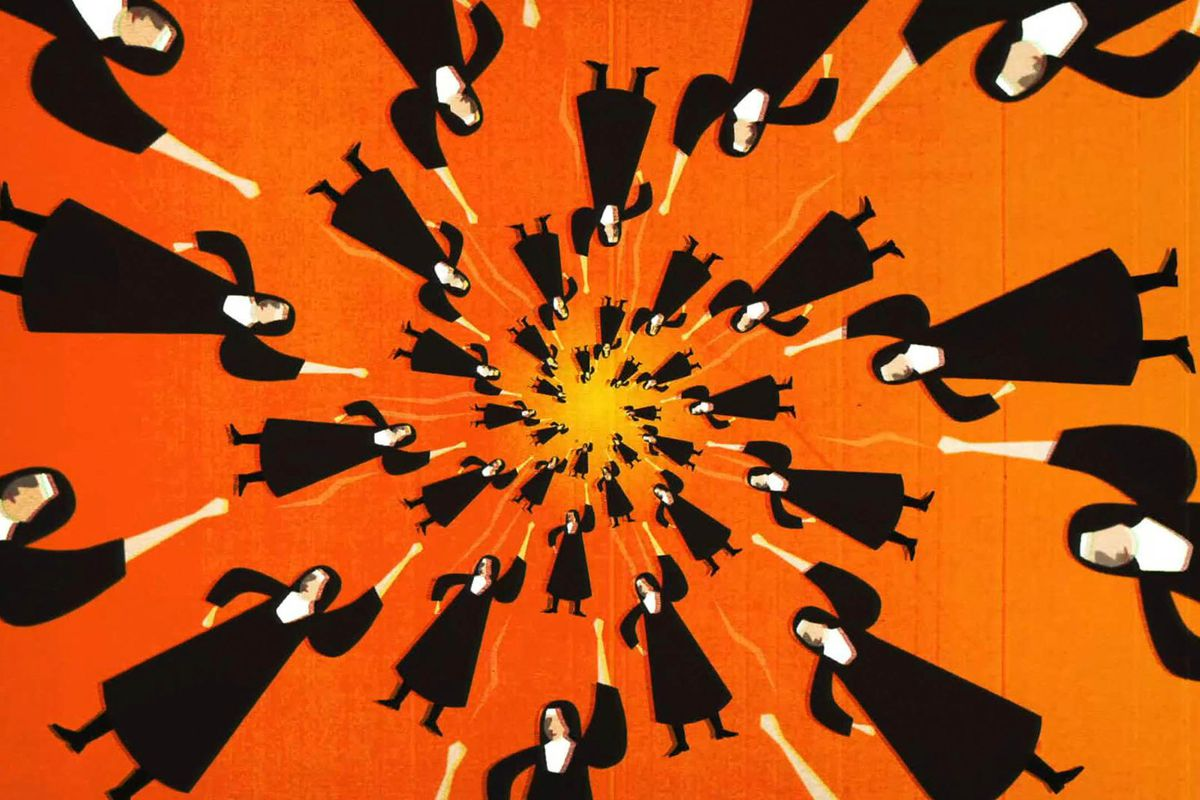 An animated image of nuns in a spiral set against an orange background.
