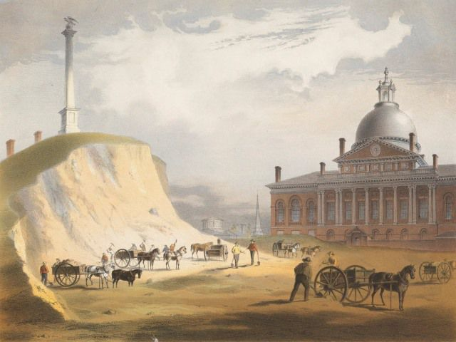 A historic painting of horses with carriages assisting workers with reducing the size of a hill in Boston. In the distance is a large red building with a grey dome and columns.