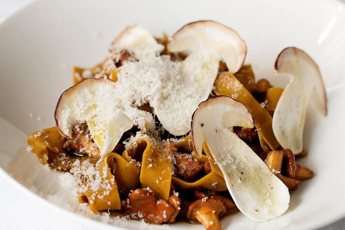 Wild mushrooms, including ceps and girolles, at Murano in Covent Garden