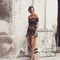For Love & Lemons nude and black lace top, $144; matching maxi skirt, $210 (arriving in May; wait-listed)