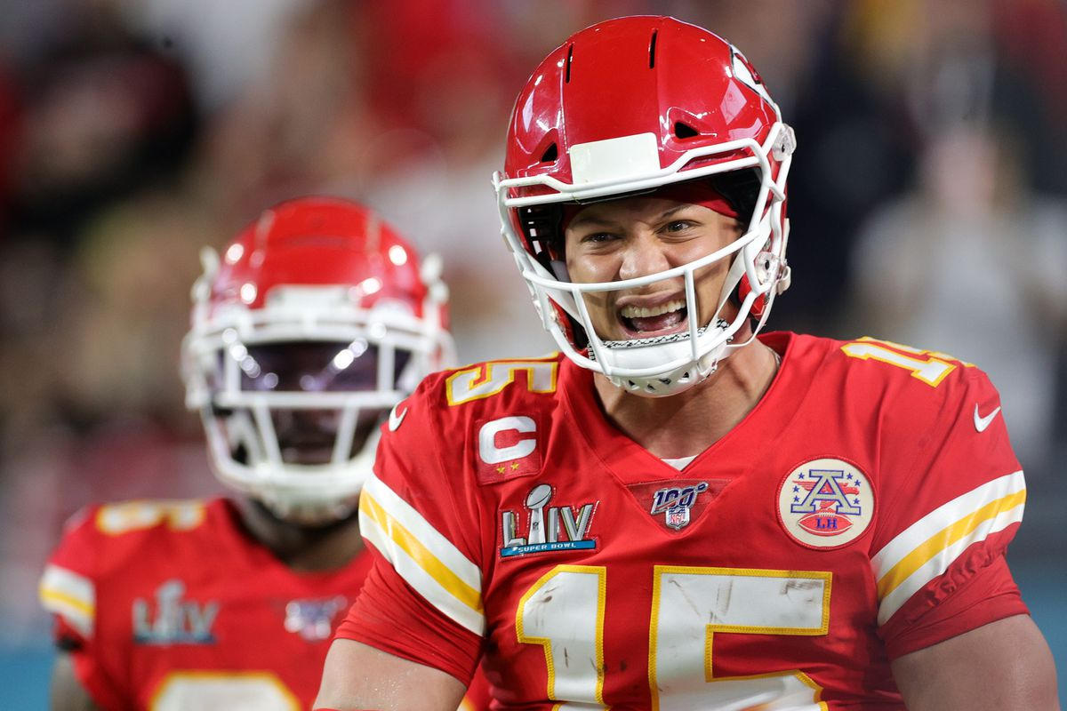 Patrick Mahomes #15 of the Kansas City Chiefs celebrates after running for a touchdown against the San Francisco 49ers during the first quarter in Super Bowl LIV at Hard Rock Stadium on February 02, 2020 in Miami, Florida.