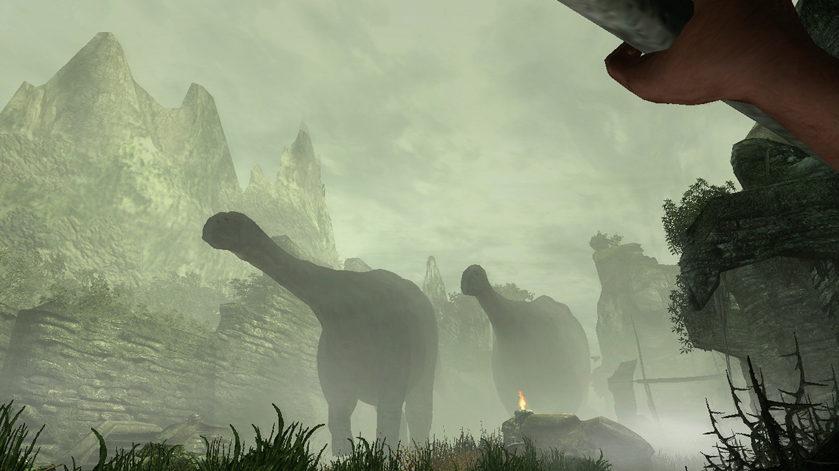 Dinosaurs walk through the mist of the mysterious island