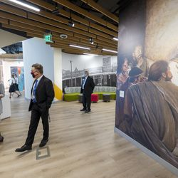 Members of the media and others arrive at the Mesa Arizona Temple's Visitors' Center for a media tour of the newly renovatedtemple in Mesa, Ariz., on Monday, Oct. 11, 2021.