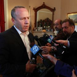 State Sen. President Pro Tem Darrell Steinberg, D-Sacramento, discusses a tentative court ruling that sides with lawmakers over their salaries, while talking to reporters at the Capitol  in Sacramento, Calif., Wednesday, April 25, 2012.  Steinberg and Assembly Speaker John Perez, D-Los Angeles, sued Controller John Chiang after he withheld Legislators pay last year because he determined they had failed to pass a balanced budget by the constitutional deadline.  If the decision stands, it appears to undermine a 2010 voter approved law requiring a balanced budget by June 15th or lawmakers forfeit their salaries until.