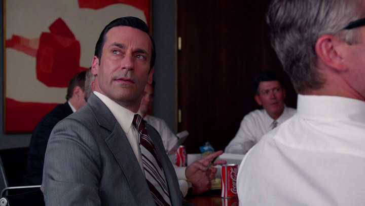 Don abandons a meeting on Mad Men.