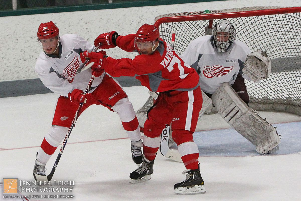 Jaimen Yakubowski and Trevor Hamilton battle in front of Andrew D'Agostini during scrimmage at the 2013 Red Wings Development Camp