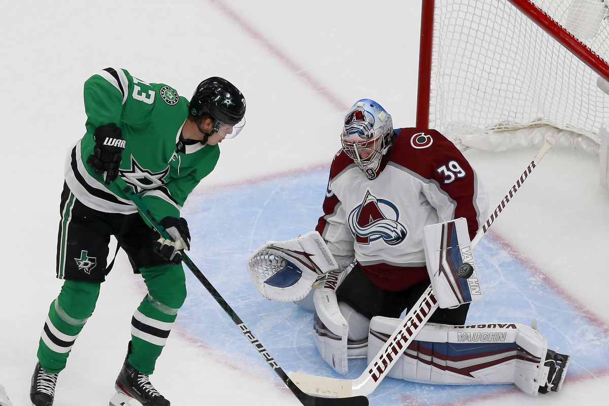 Pavel Francouz of the Colorado Avalanche stops a shot from Mattias Janmark of the Dallas Stars in the third period in a Western Conference Round Robin game during the 2020 NHL Stanley Cup Playoff at Rogers Place on August 05, 2020 in Edmonton, Alberta.