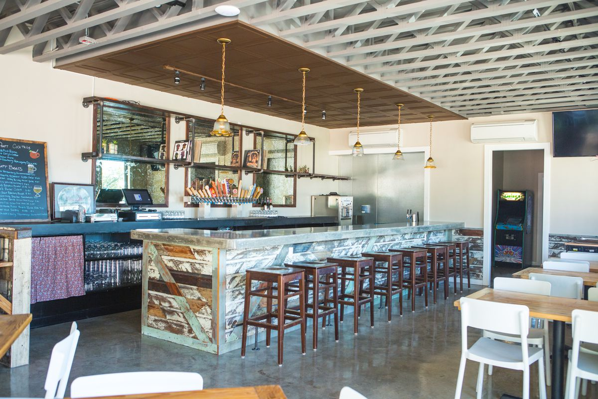 Inside the bar building at Sour Duck