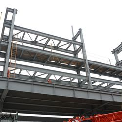 4:31 p.m. View looking up at the right-field video board structure -