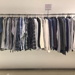 Men's pullovers, button-down shirts, and long-sleeved tees