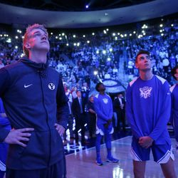 Brigham Young Cougars players prepare to face off against the Utah Utes at the Marriott Center in Provo on Saturday, Dec. 16, 2017.