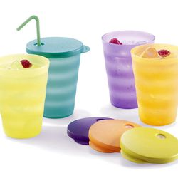 This product image courtesy of Tupperware shows Tupperware Impressions Tumblers. Tupperware, it seems, is enjoying a renaissance 65 years after it first hit the market with Wonder Bowls, Bell Tumblers and Ice-Tup molds for homemade frozen treats.