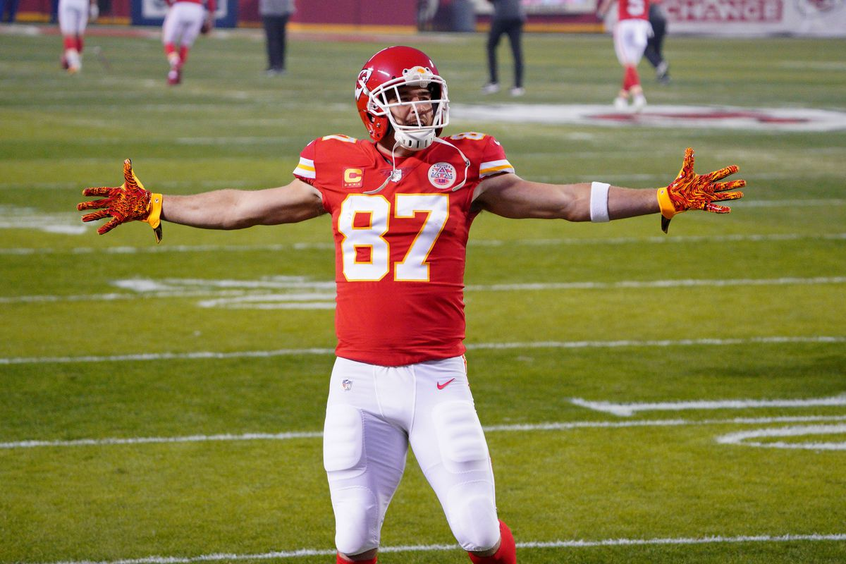 Kansas City Chiefs tight end Travis Kelce (87) is introduced before the game against the Buffalo Bills in the AFC Championship Game at Arrowhead Stadium.