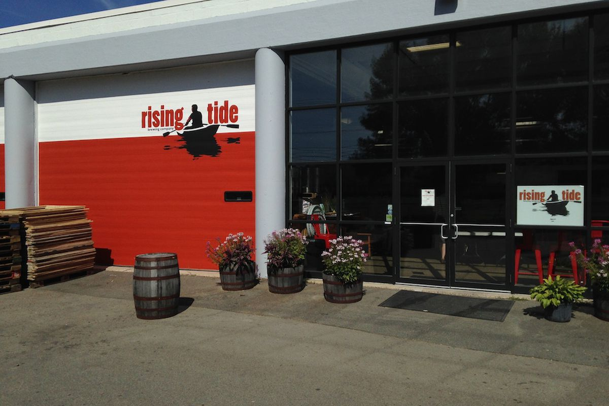 Newly painted garage door at Rising Tide.
