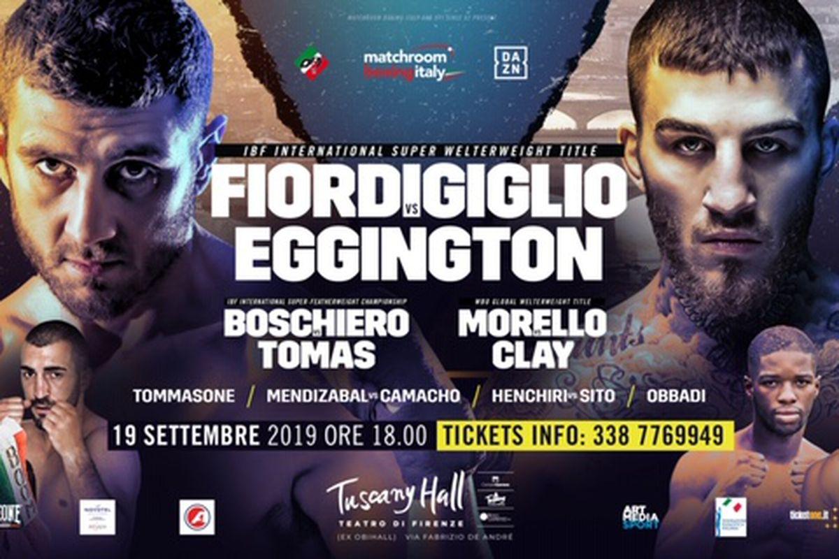 Orlando Fiordigiglio to face Sam Eggington on September 19