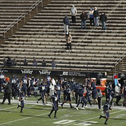 Utah State Aggies and the Fresno State Bulldogs play without a crowd due to COVID-19 restrictions in Logan on Saturday, Nov. 14, 2020.
