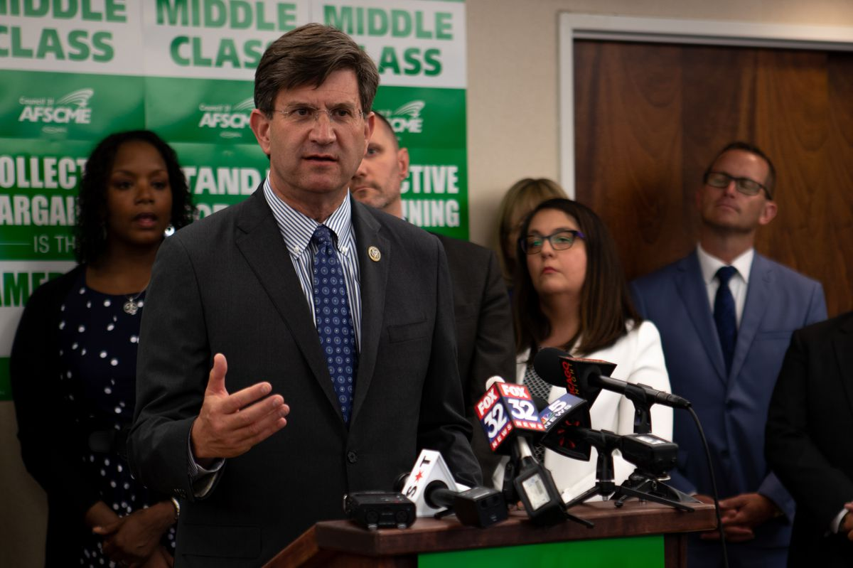 On July 2, at the AFSCME Council in Chicago, U.S. Rep. Brad Schneider speaks on the repercussions of the Supreme Court decision in Janus v. AFSCME Council 31. I Maria de la Guardia/Sun-Times