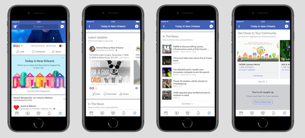 Facebook has anew local section of its app for news and events.