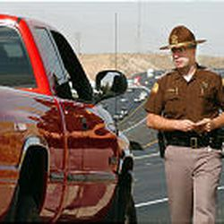 """UHP trooper Todd Johnson makes a traffic stop on I-15 near Lehi as part of """"Put the Brakes on Fatalities."""" Troopers want drivers to pay more attention to safety."""