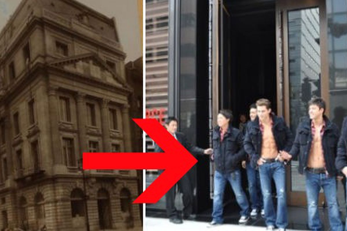 """Shirtless Abercrombie staffers now live at one of the former Vanderbilt Mansions, images via <a href=""""http://www.luckymag.com/shopping/2011/08/fifth-avenue--then---now#slide=9"""">Lucky Magazine</a> and <a href=""""http://www.businessoffashion.com/tag/abe"""