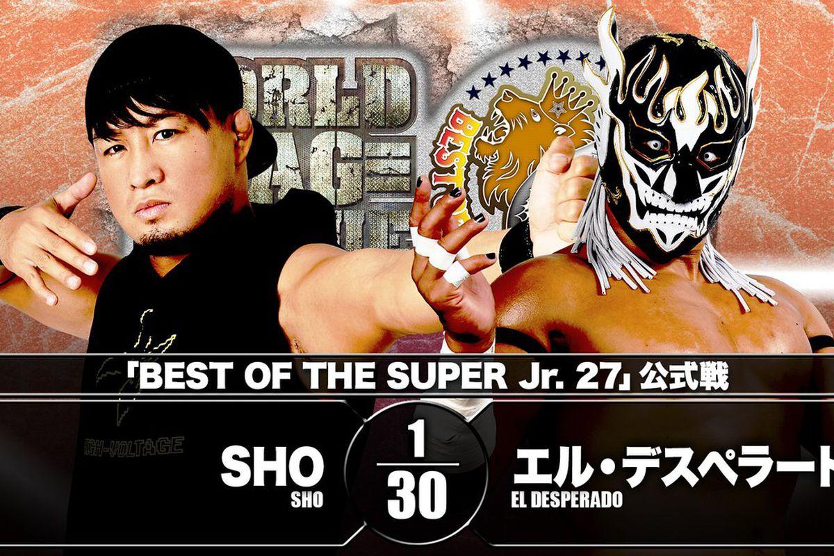 Match graphic for El Desperado vs. SHO at NJPW Best of the Super Jr. 27
