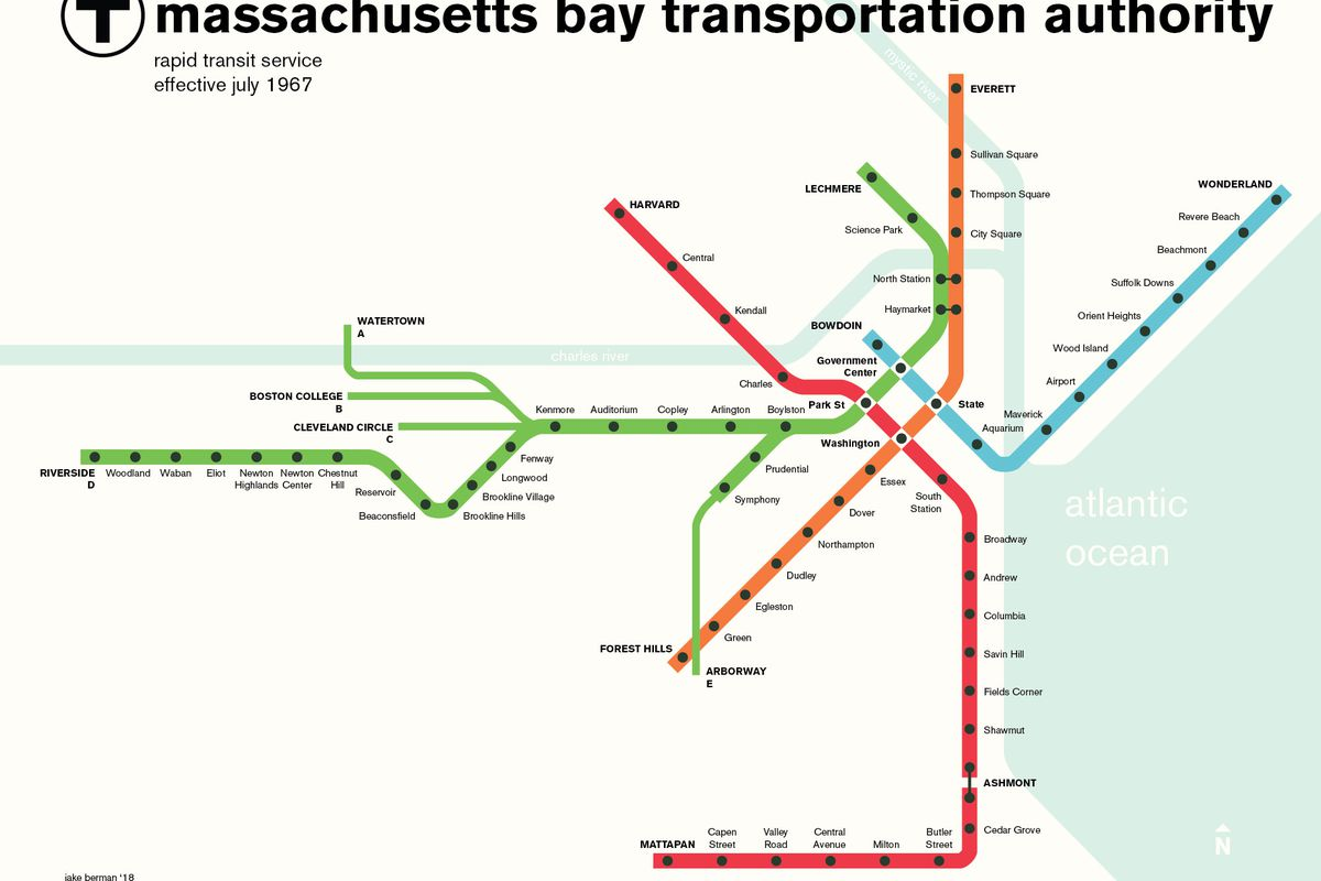 Map Of Boston T Boston T map from 50 years ago shows how things have certainly