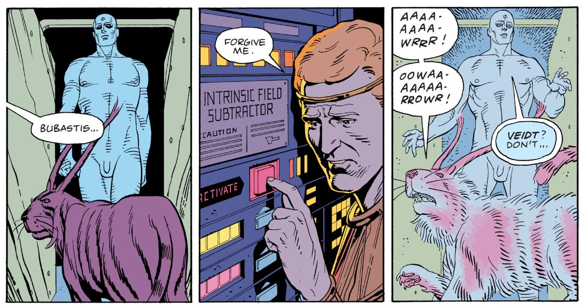 Ozymandias/Adrian Veidt apologizes to his pet lynx Bubastis as he turns on an Intrinsic Field Subtractor while it and Doctor Manhattan are inside of it, in Watchmen, DC Comics (1987).