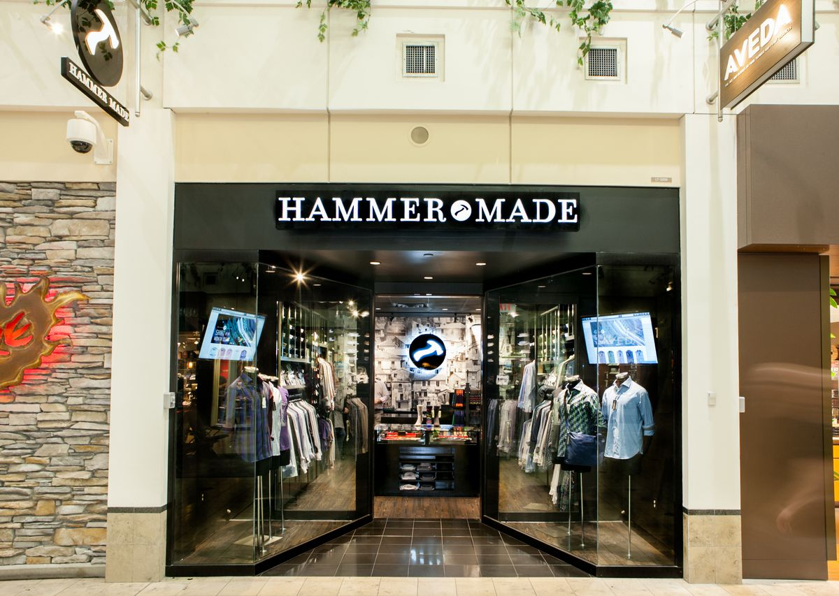 The storefront for Hammer Made, a local men's clothing company.