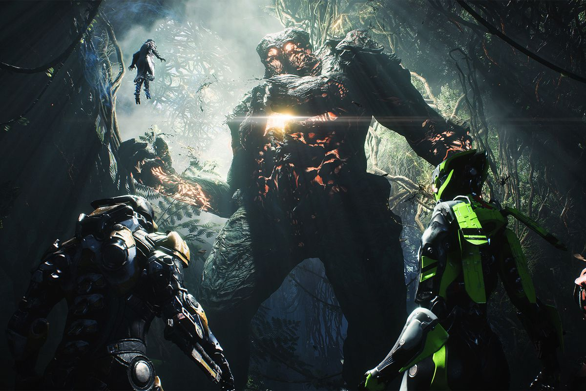 Four Javelins face a giant monster in a screenshot from Anthem.