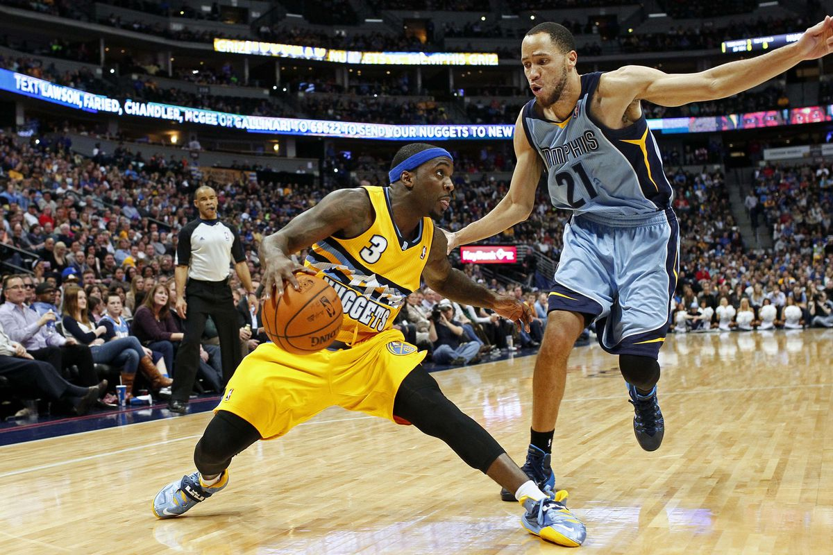 Ty Lawson fakes out Tayshaun Prince during their last meeting in Denver