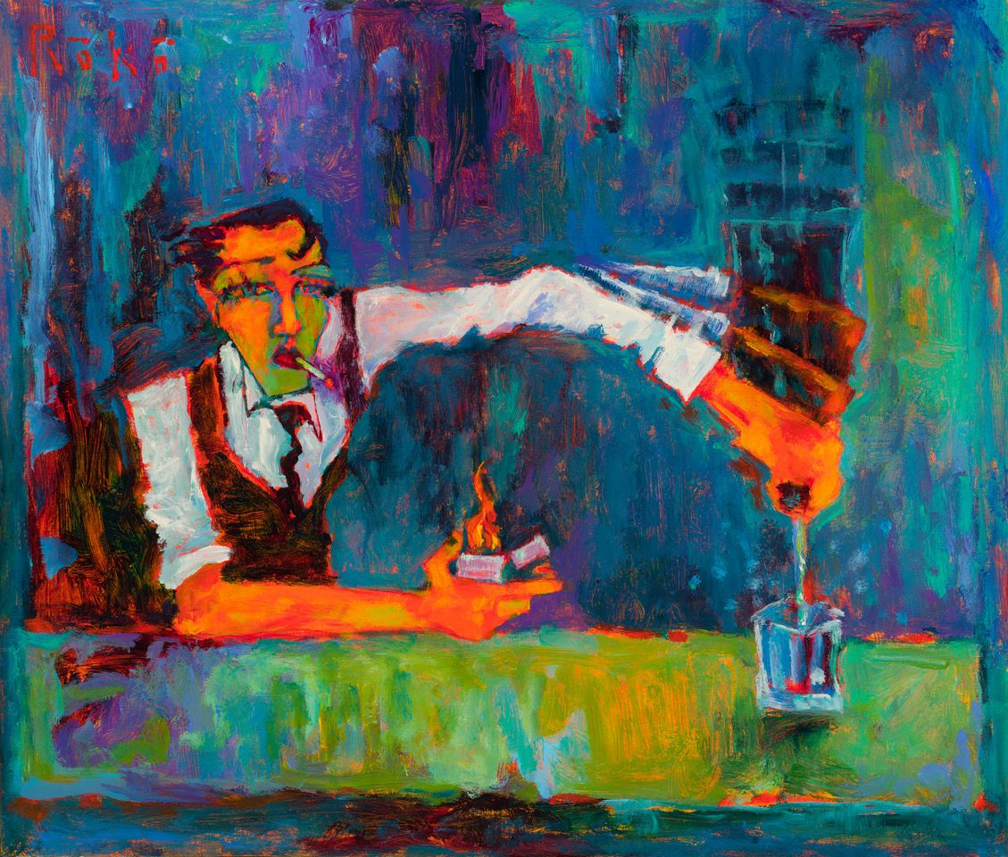 """""""Heavy Pour"""" by artist Tony Roko shows a bartender with a cigarette in his mouth holding a lighter in one hand and pouring liquor from a bottle in the other hand into a glass"""