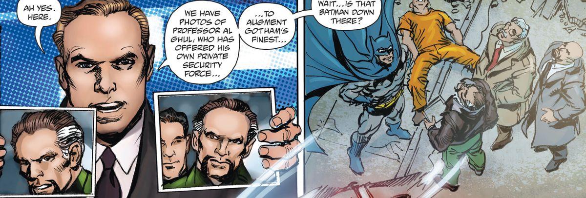 "A news anchor holds up photos of ""Professor Al Ghul"" on live TV, in Batman vs. Ra's al Ghul, DC Comics (2019)."