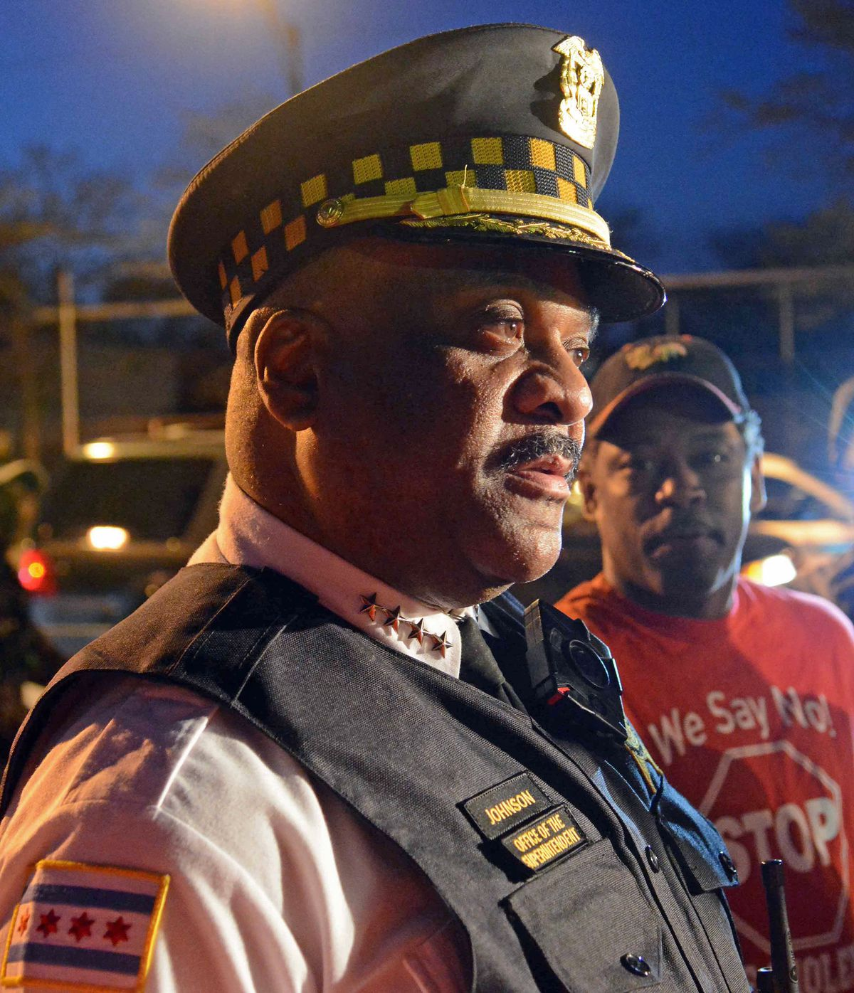 Supt. Eddie Johnson and First Deputy John Escalante meet with the media before going out on patrol wearing body cameras. | Brian Jackson/For the Sun-Times