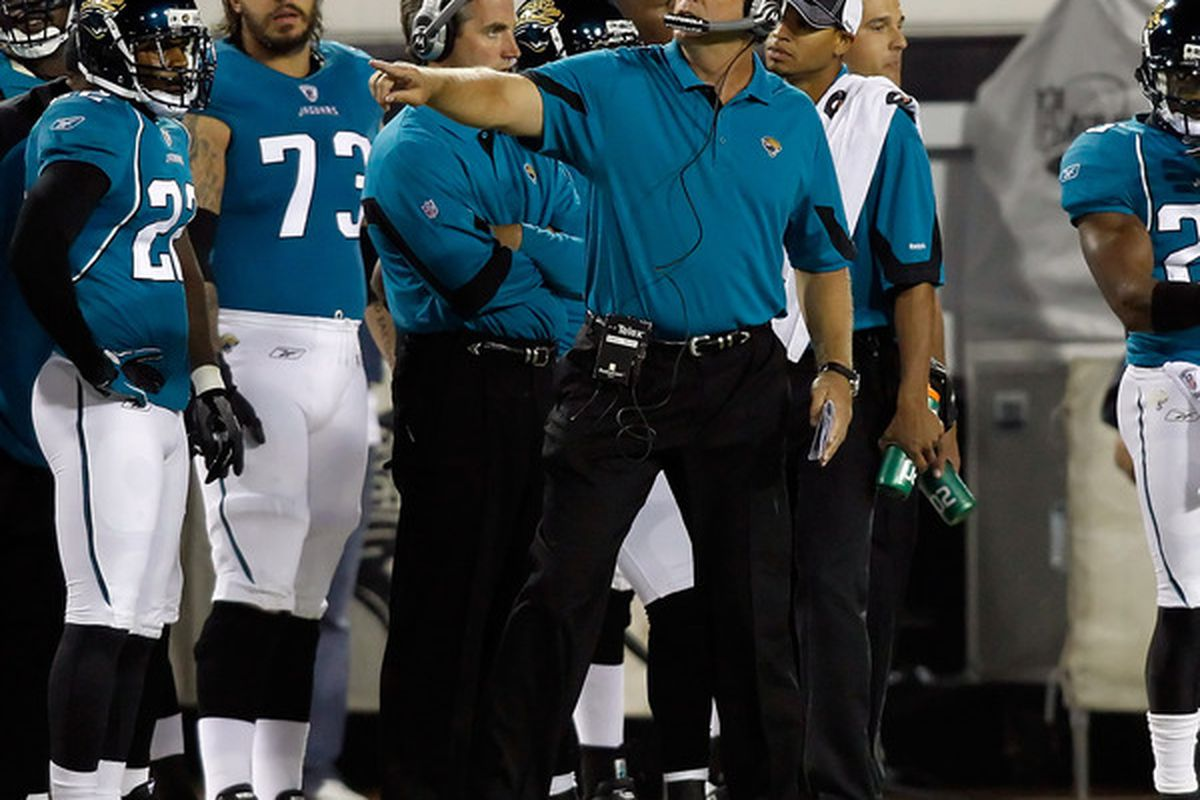 JACKSONVILLE FL - OCTOBER 18:  Head coach Jack Del Rio of the Jacksonville Jaguars directs his team against the Tennessee Titans during the game at EverBank Field on October 18 2010 in Jacksonville Florida.  (Photo by J. Meric/Getty Images)