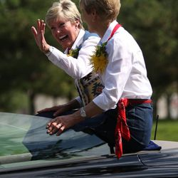 LDS Primary General President Rosemary Wixom, left, and Second Counselor Cheryl Esplin ride in the Days of '47 Youth Parade in Salt Lake City on Saturday, July 20, 2013.