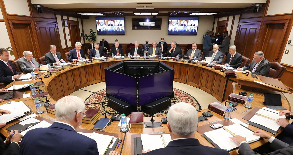 The Quorum of the Twelve Apostles of The Church of Jesus Christ of Latter-day Saints gather for their weekly meeting at the Church Administration Building in Salt Lake City on Tuesday, May 11, 2021.