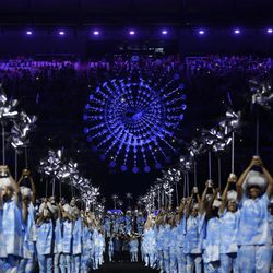Performers take part in the closing ceremony of the Rio 2016 Paralympic Games at the Maracana Stadium in Rio de Janeiro, Brazil, Sunday, Sept. 18, 2016.