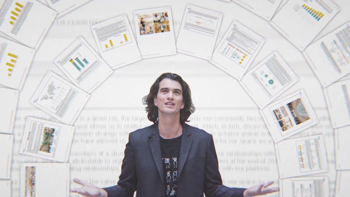 WeWork co-founder Adam Neumann stands under an arch of stylized, animated sheets from business reports in the documentary WeWork: Or the Making and Breaking of a $47 Billion Unicorn