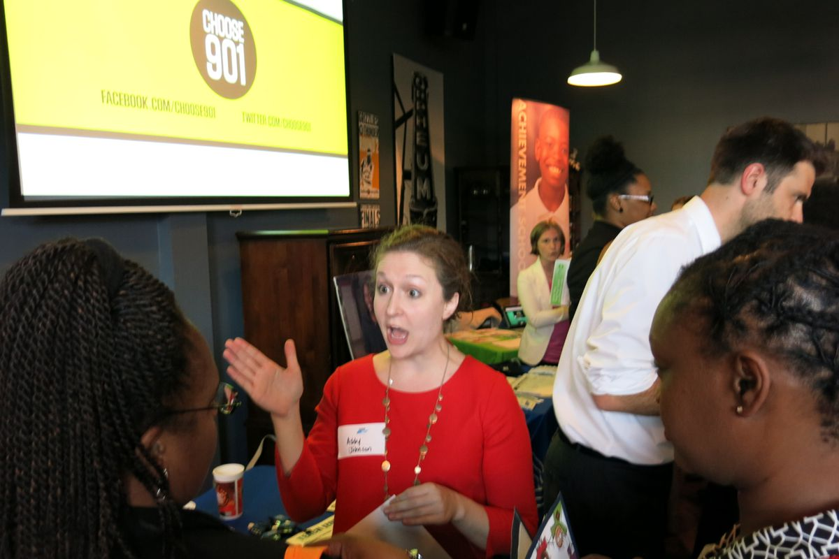 More than 20 education vendors attended the Teach901 recruitment fair on Tuesday.