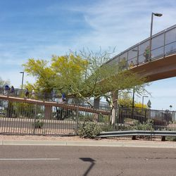 The curved walkway over Priest Drive from the Phoenix Muni parking lot to the stadium -