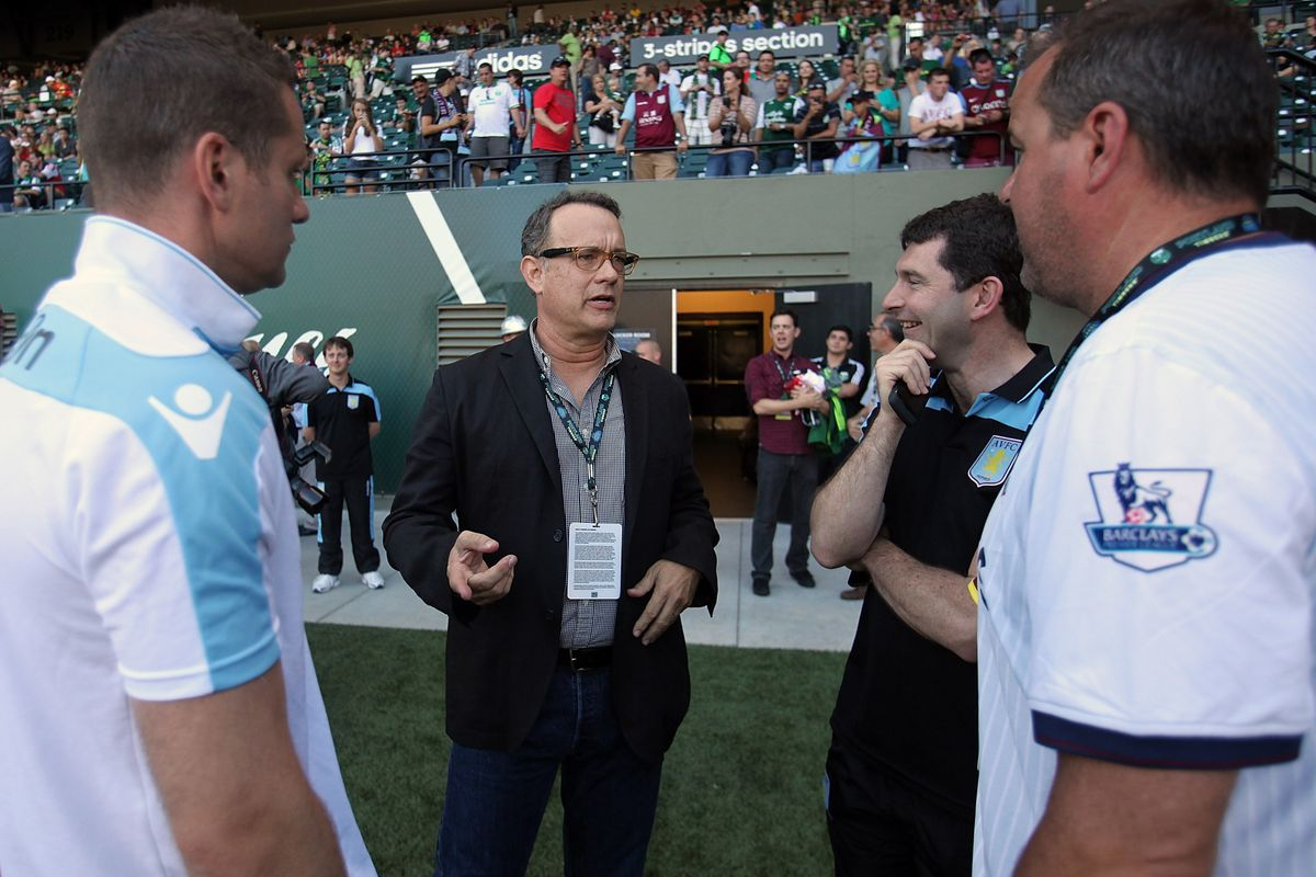 PORTLAND, OR - JULY 24:  Actor Tom Hanks crashed the Aston Villa Portland Timbers at Jeld-Wen Field. Chivas USA will play in Portland tomorrow. (Photo by Jonathan Ferrey/Getty Images)