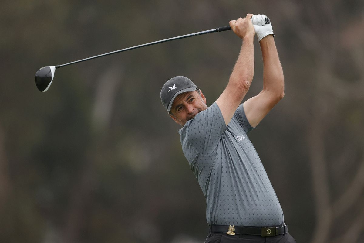 Richard Bland of England plays his shot from the 12th tee during the second round of the 2021 U.S. Open at Torrey Pines Golf Course (South Course) on June 18, 2021 in San Diego, California.