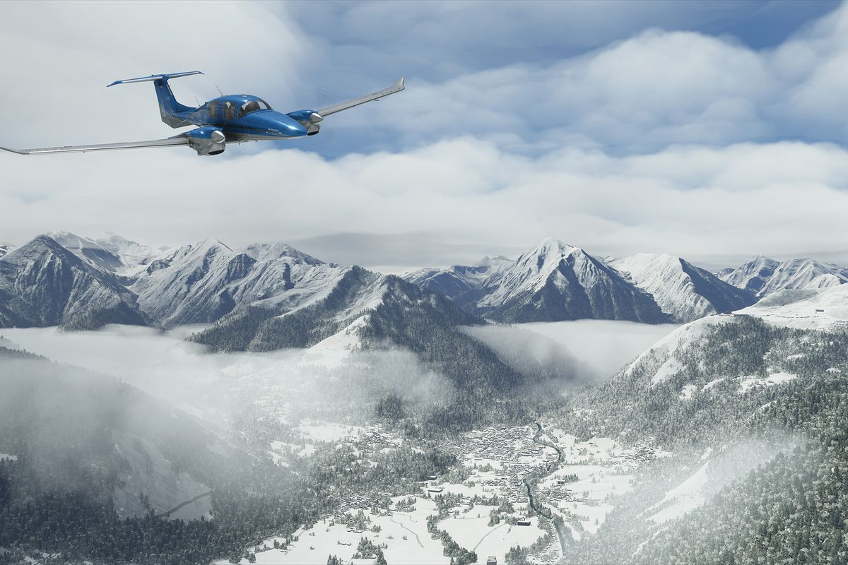 a twin-engine airplane sailing over the snowy Alps in Microsoft Flight Simulator