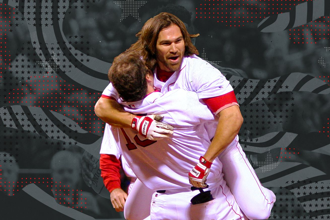 Johnny Damon jumps in a teammate's arms after sealing a 5-4 Red Sox victory over the New York Yankees in game 5 of the American League Championship series.