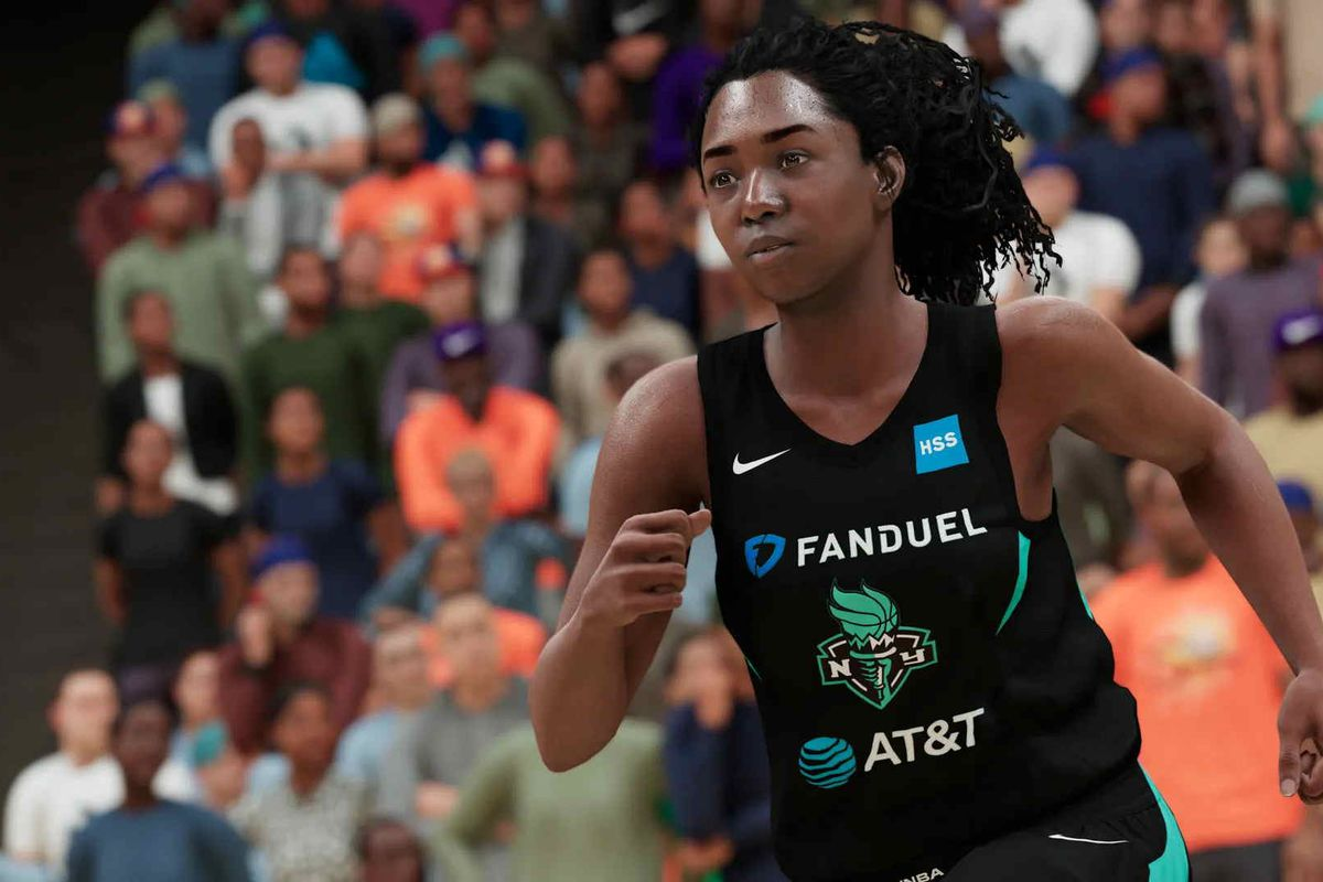new york liberty player runs up the court after a made basket in NBA 2K21