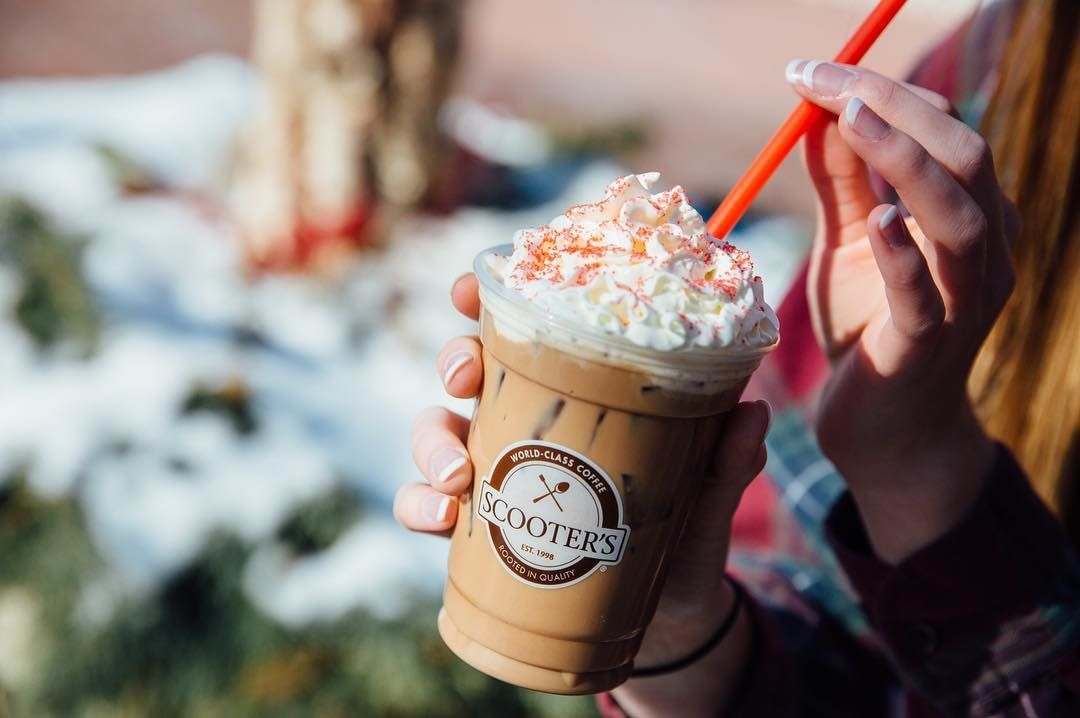 """The caramel and vanilla """"Love Potion"""" served at the drive-thru by Scooter's Coffee."""
