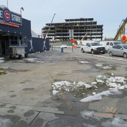 Wed 1/6: the former holiday tree site, this was removed Tuesday afternoon or Wednesday morning.  The Cubs Store closed last Sunday for the winter -