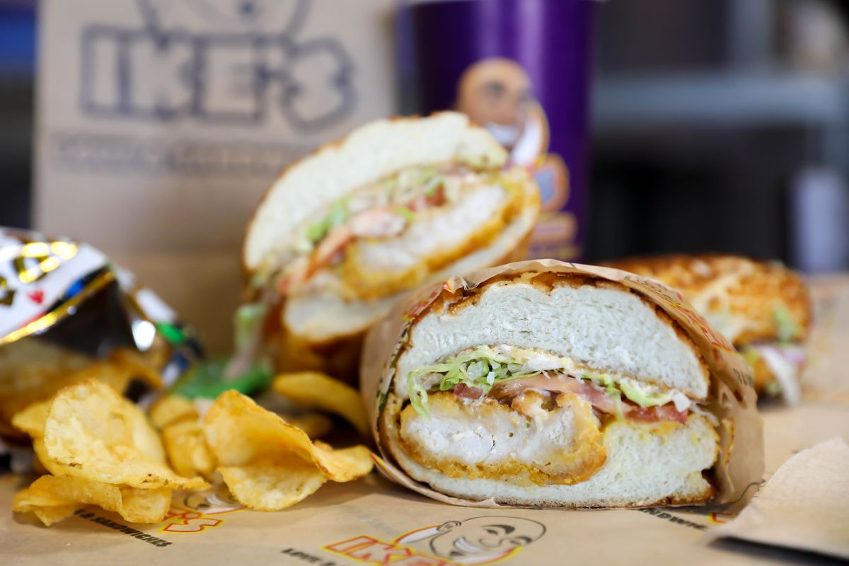 A sandwich from Ike's Love & Sandwiches