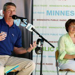 U.S. Senate candidates, Republican Kurt Bills and Democratic Sen. Amy Klobuchar participate in a debate at the MPR News booth at the Minnesota State Fair in Falcon Heights, Minn., Thursday, Aug. 30, 2012.
