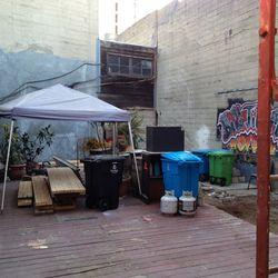 The in-progress patio.